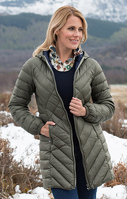 3/4 Diamond Quilt Down Jacket