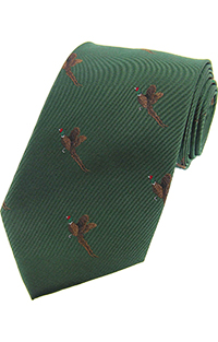 Flying Pheasants Woven Sikl Tie