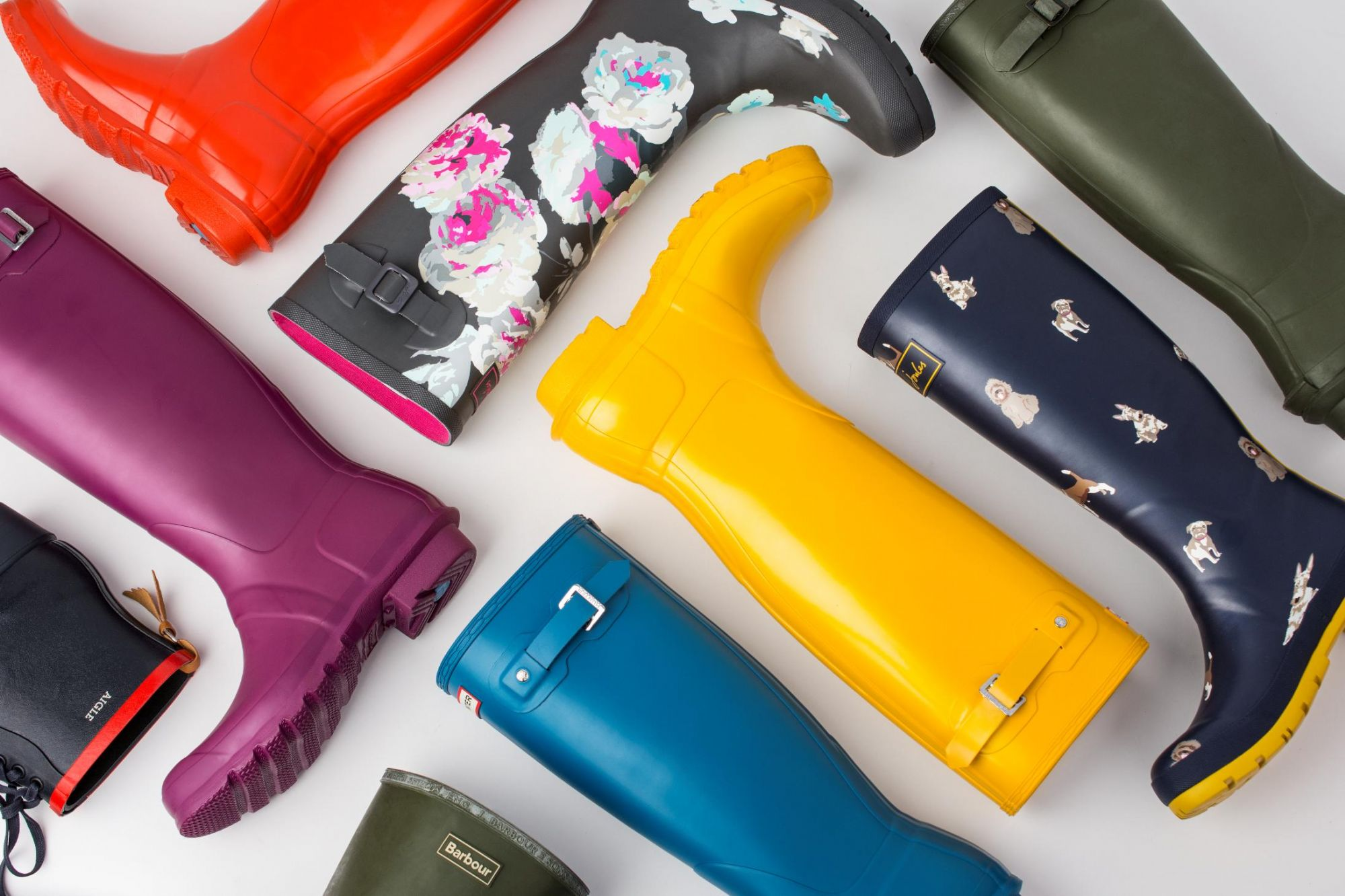 house of bruar wellington boots aigle hunter joules arranged in grid