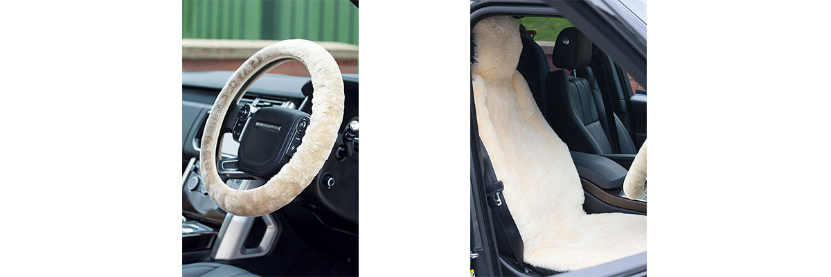 Sheepskin car seat cover and steering wheel over