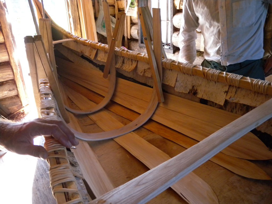 Natural birch canoe crafted by Tom Byers in Canada process