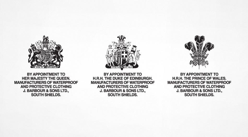 Barbour Royal Warrants Her Majesty The Queen, The Duke of Edinburgh and The Prince of Wales