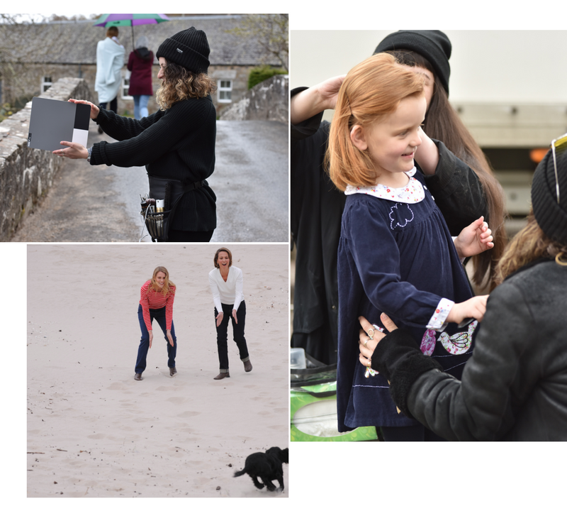 Catalogue shoot 2017 makeup artist, redhead child model, models laughing on beach with cocker spaniel