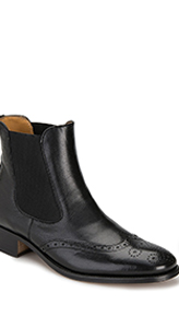 House of Bruar ladies black leather brogue detail ankle boot country fashion