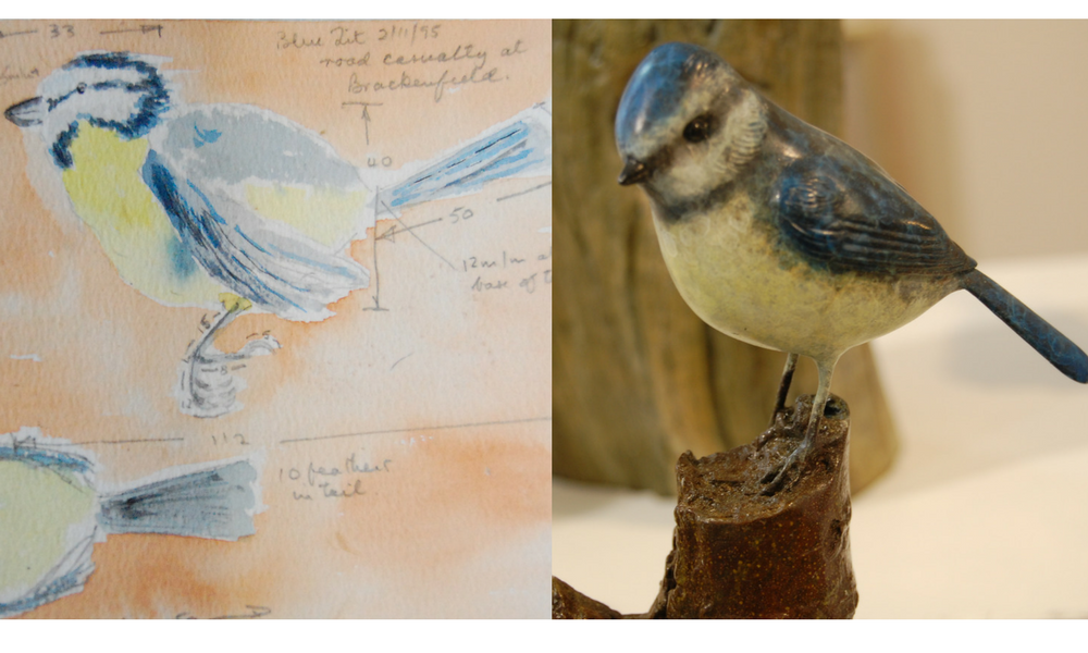 Eddie Hallam Artist initial sketchbook work and final sculpture of blue tit