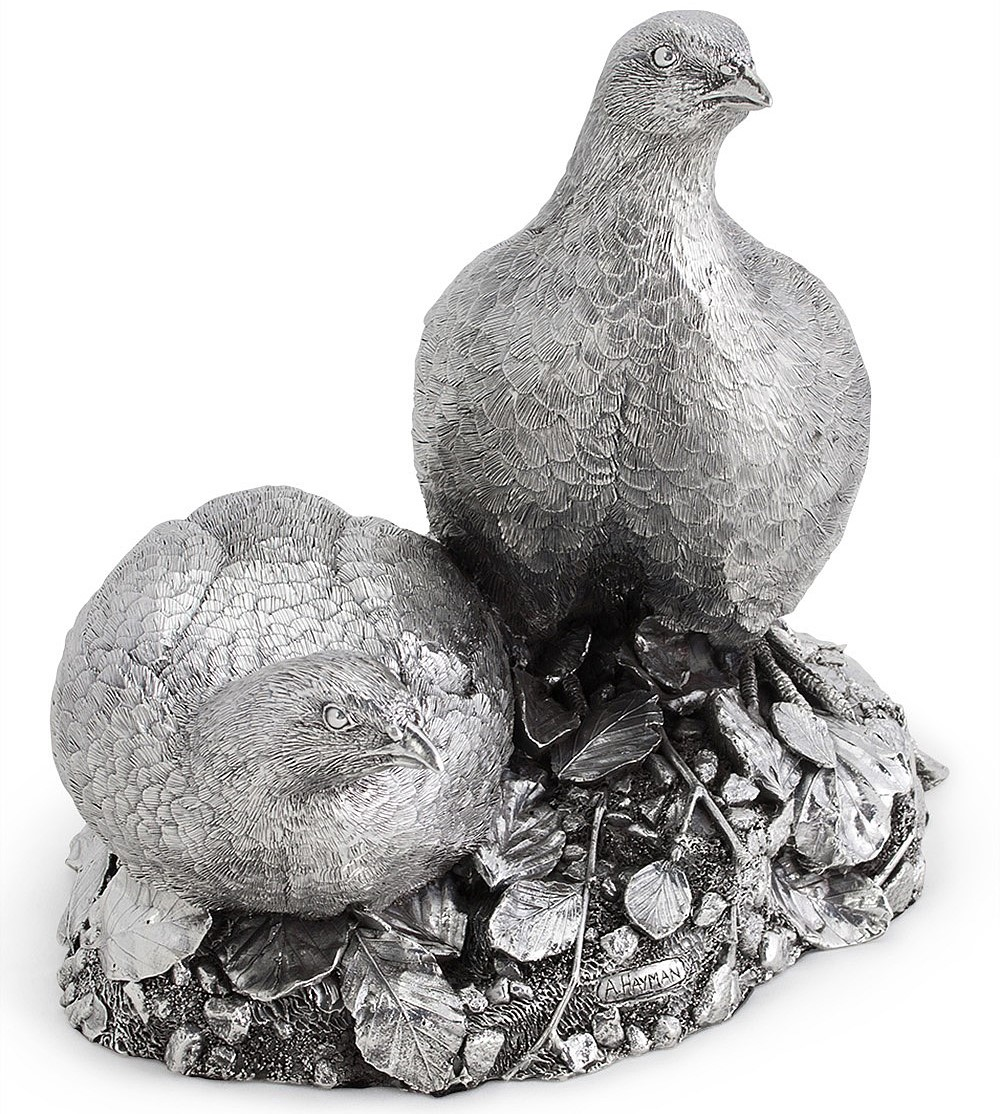 Silver partridge centerpieces