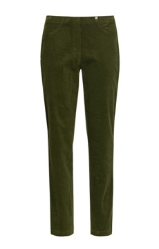 Robell needlecord trousers in Dark Leaf