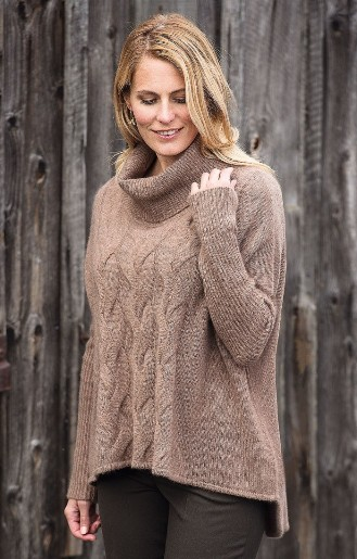 Cashmere Cable Sweater driftwood blonde model