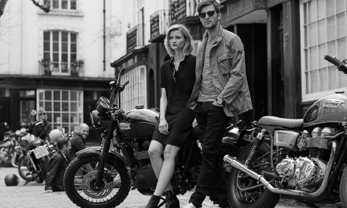 Barbour International image, couple sitting on motorcycles black and white rock feel