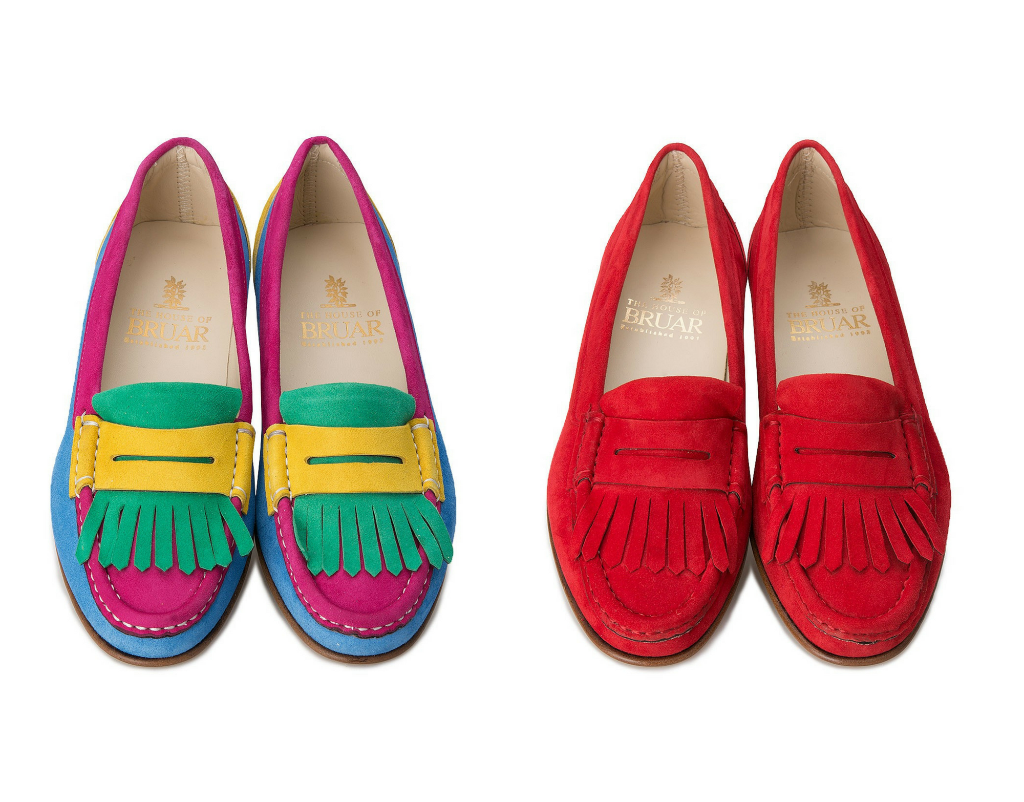 House of Bruar Bright tassle loafers suede