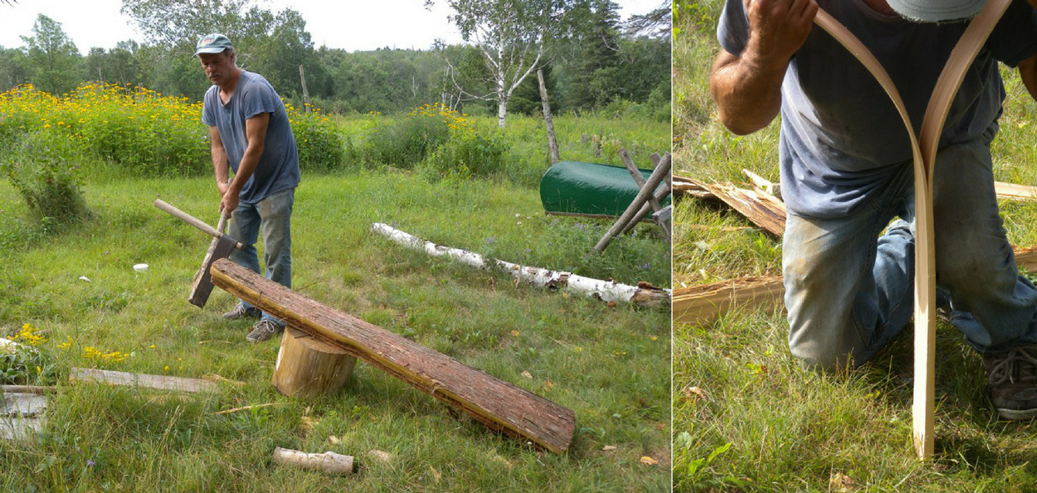 Natural birch canoe crafted by Tom Byers in Canada splitting wood