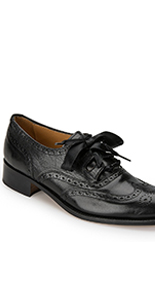 Ladies House of Bruar Ribbon tie leather black brogue kilt shoe country fashion