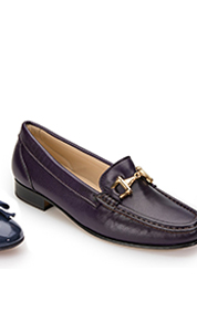 Ladies house of bruar purple leather snaffle loafer gold detail country fashion