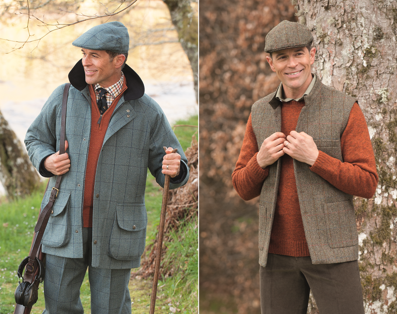 Heavyweight tweed garments for men's country clothing and fieldsports