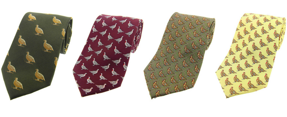 House of Bruar silk grouse tie forrest green, red, green and yellow