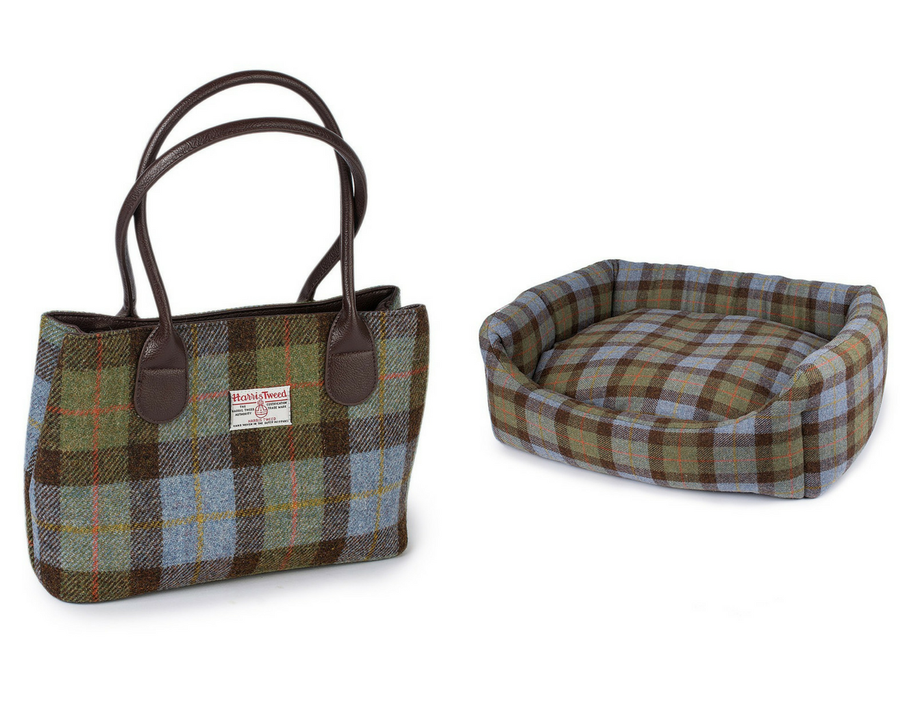 Blue Check Harris Tweed handbag and dogbed House of Bruar