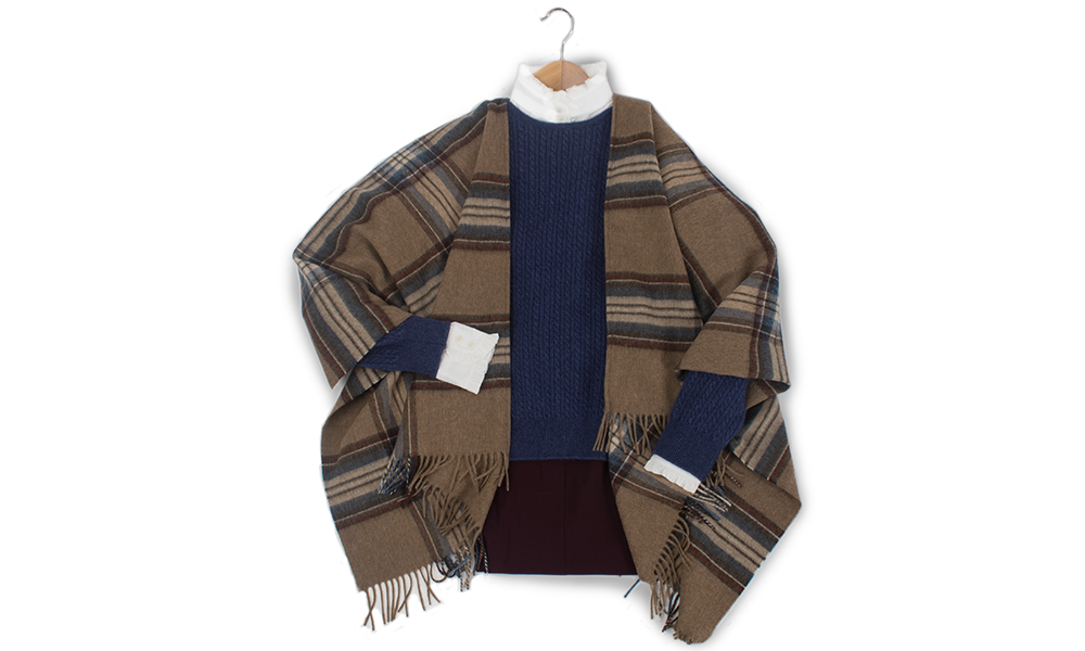 frill neck blouse country fashion feel lambswool angora jumper and scottish plaid ruana shawl