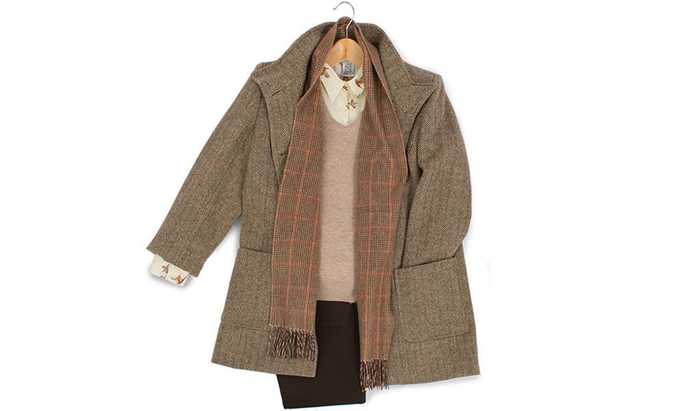 classic country fashion tweed jacket peacoat with country pattern cotton shirt cashmere vneck sweater and scottish cashmere scarf