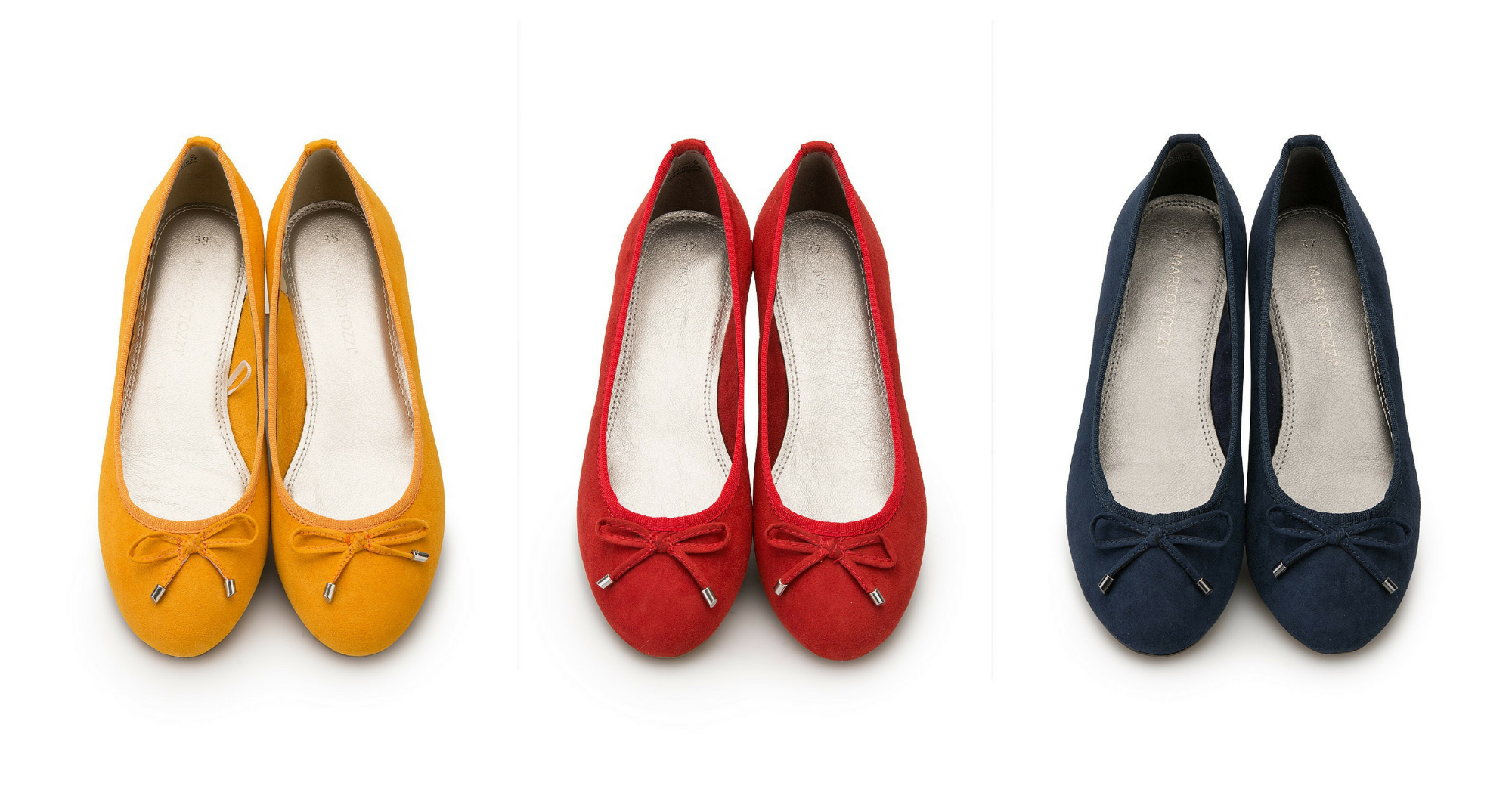 marco tozzie bow pumps yellow, red and navy blue