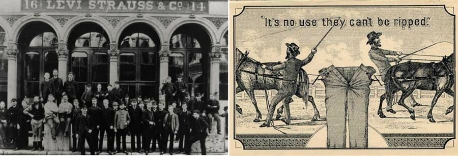 Levi Strauss historical images from 1870's and two horses logo