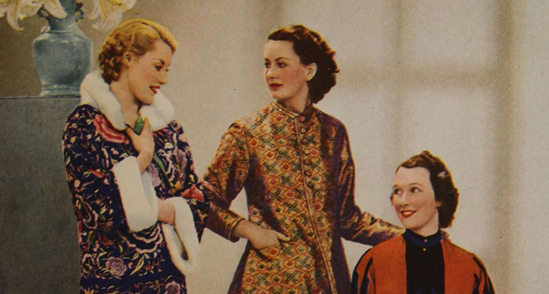 Libery London 1920's advert ladies in luxurious fabric