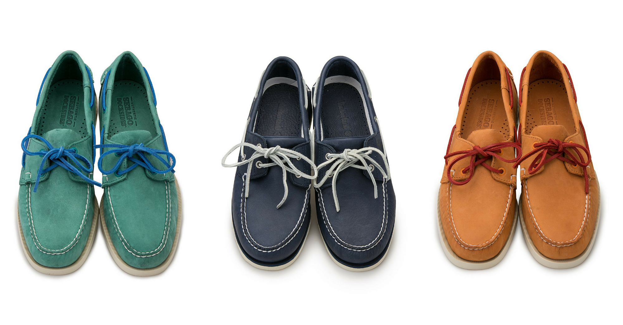 men's boat shoes from sebago and timberland in blue, navy and orange