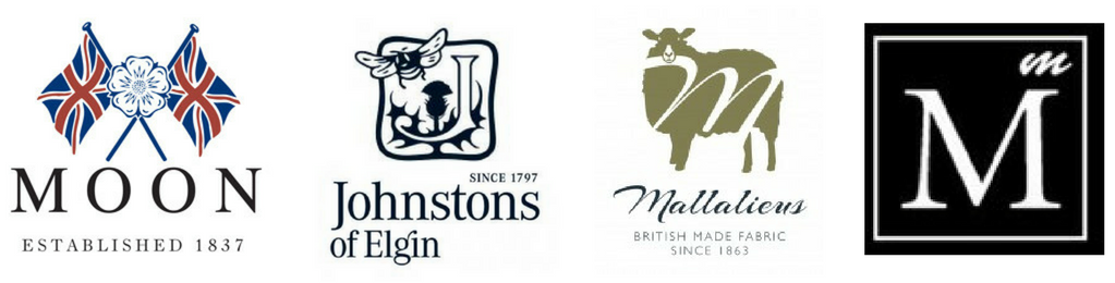 Pure new wool British Mill logos Abraham Moon Johnstons of Elgin Mallalieus of Delth Marton Mills
