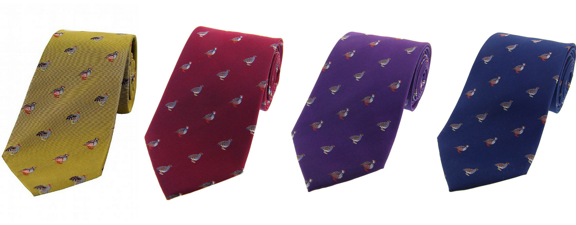 silk partridge ties in yellow, red, purple and navy