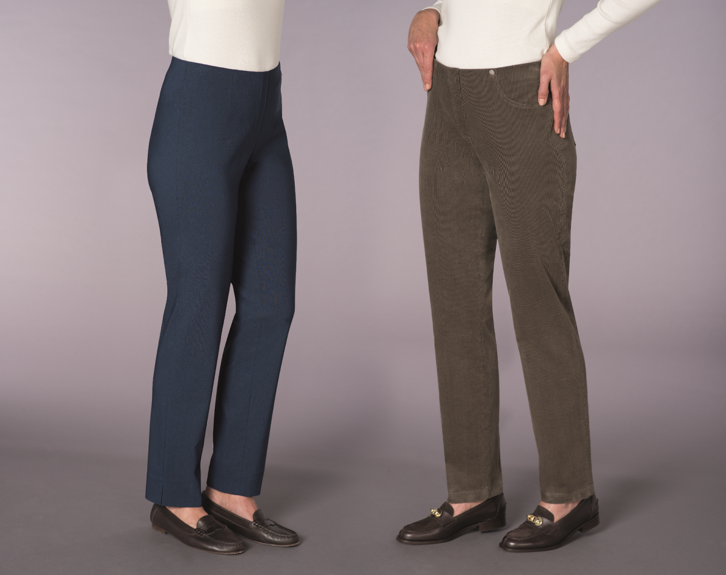 House of Bruar Robell Trousers in navy stretch and brown needlecord