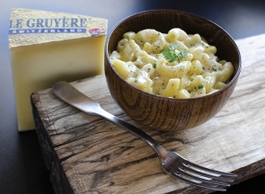 Le Gruyere Alpage AOP cheese chalet style macaroni comfort food