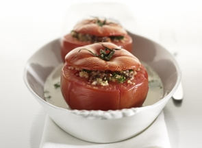Le Gruyere Alpage AOP cheese stuffed tomato's with couscous