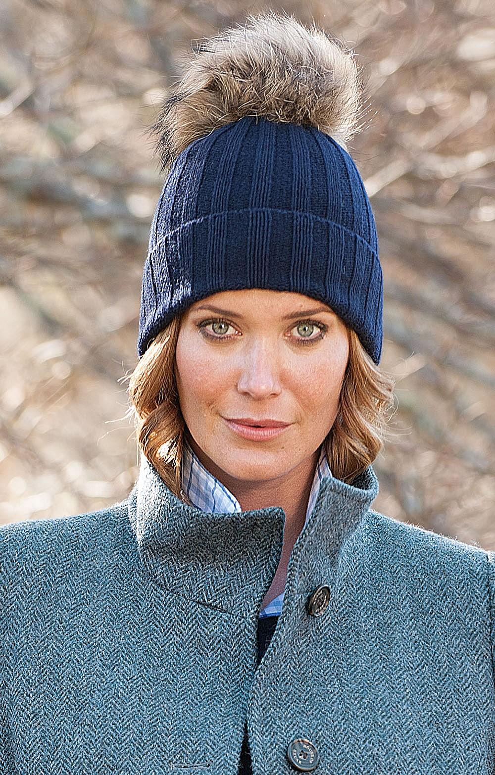 9ee1d12d1ed Ladies Cashmere   Silk Fox Fur Pompom Hat – The House of Bruar