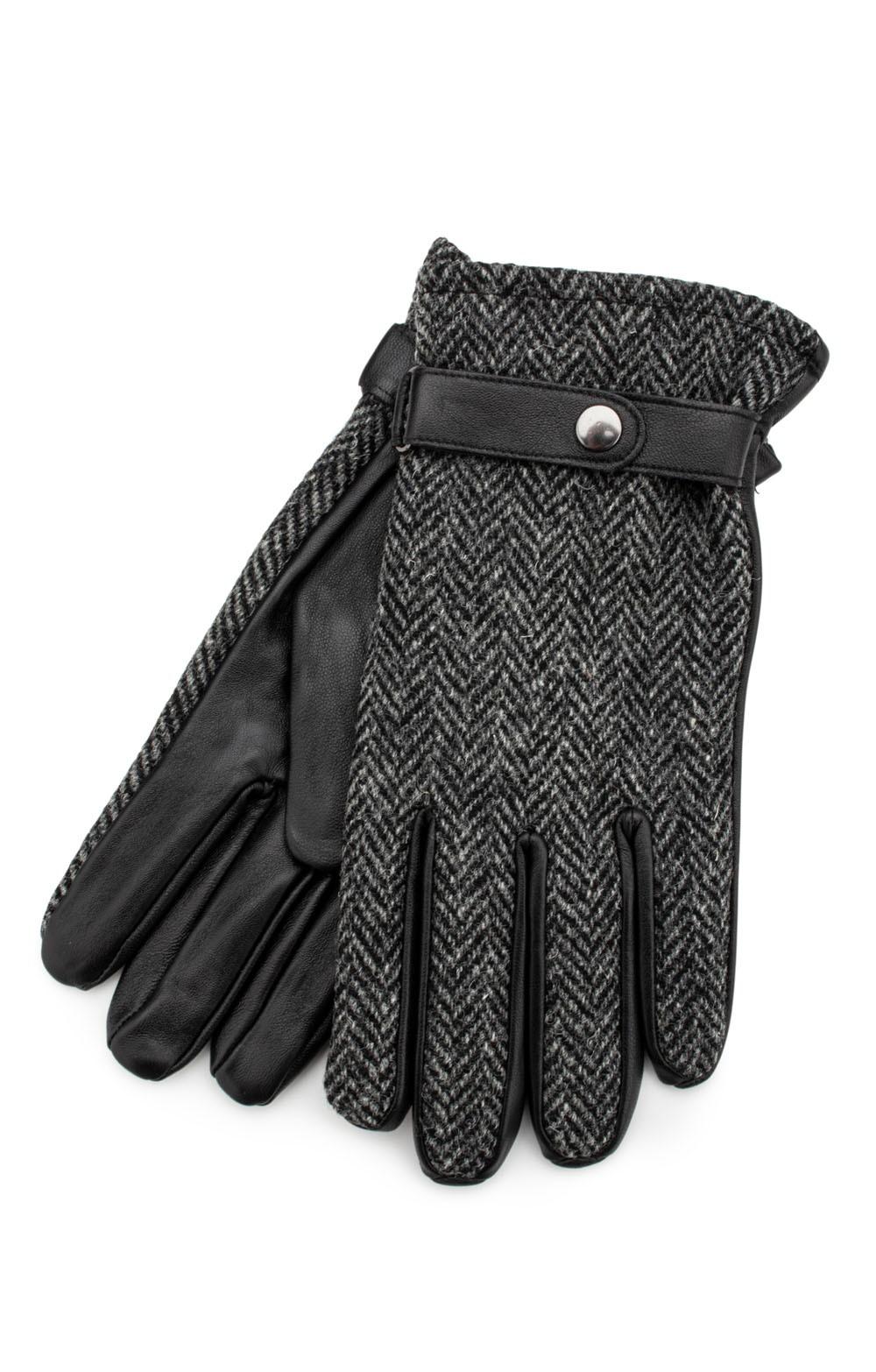 Ladies 100/% Harris Tweed Traditional Blue Herringbone Tweed Black Leather Gloves