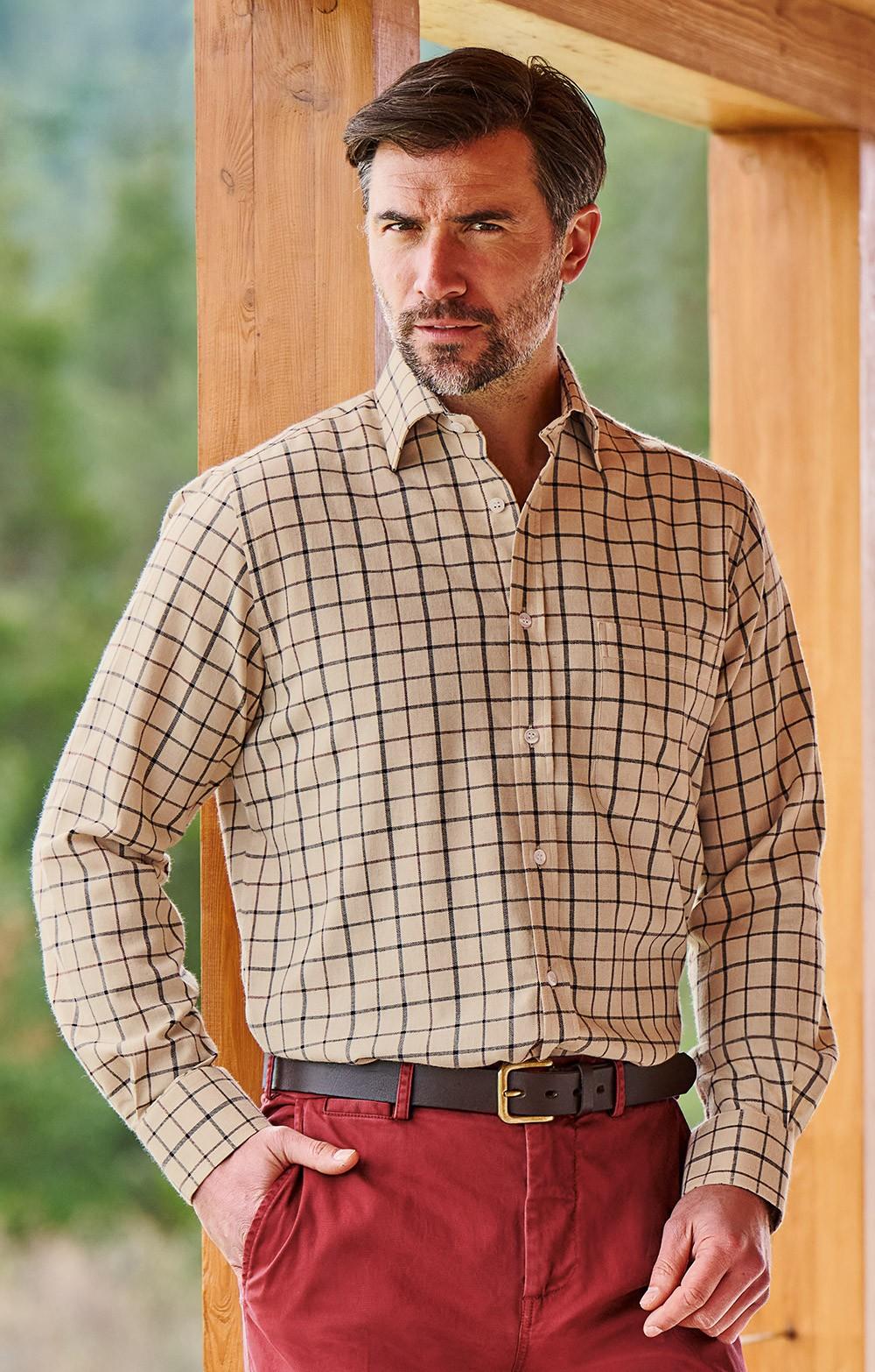 ce5a94cf2fa9b0 Mens Cotton & Wool Tattersall Shirt - House of Bruar