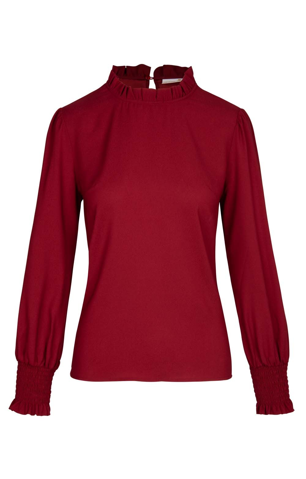 Raspberry blouse with frill collar.