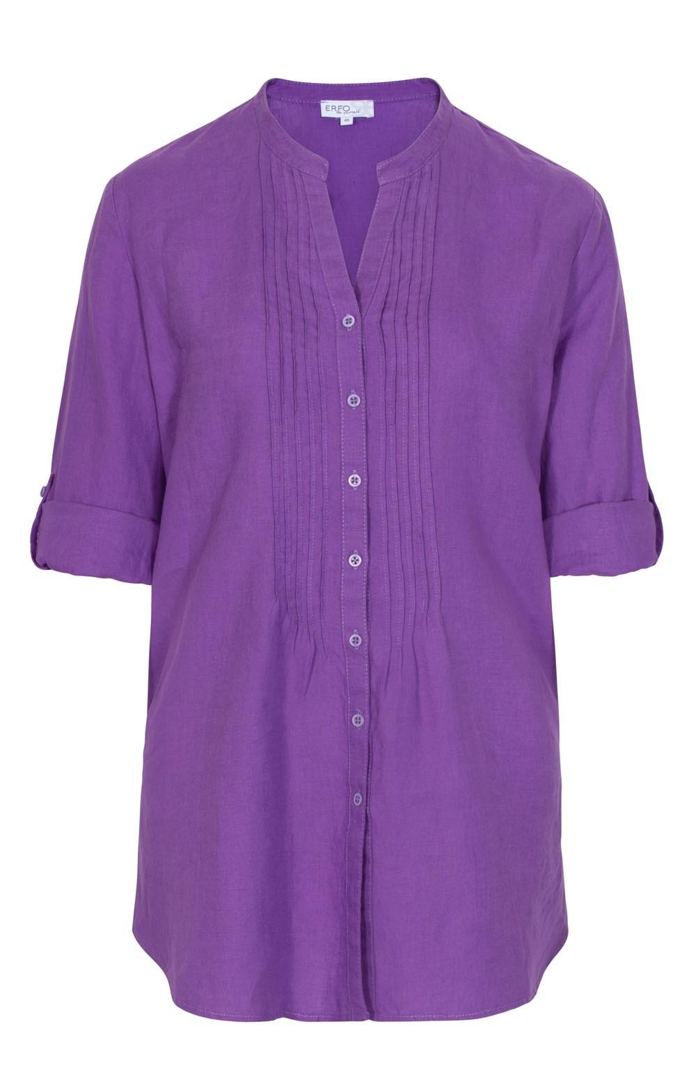 44b25639c92d5c Ladies Erfo Pleat Placket Long Linen Shirt - House of Bruar