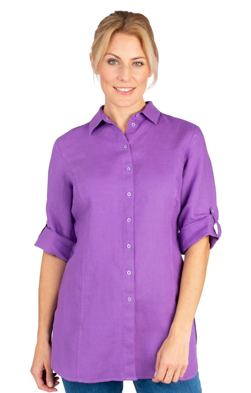 ec99558625bef0 Ladies Erfo Long Linen Shirt - House of Bruar