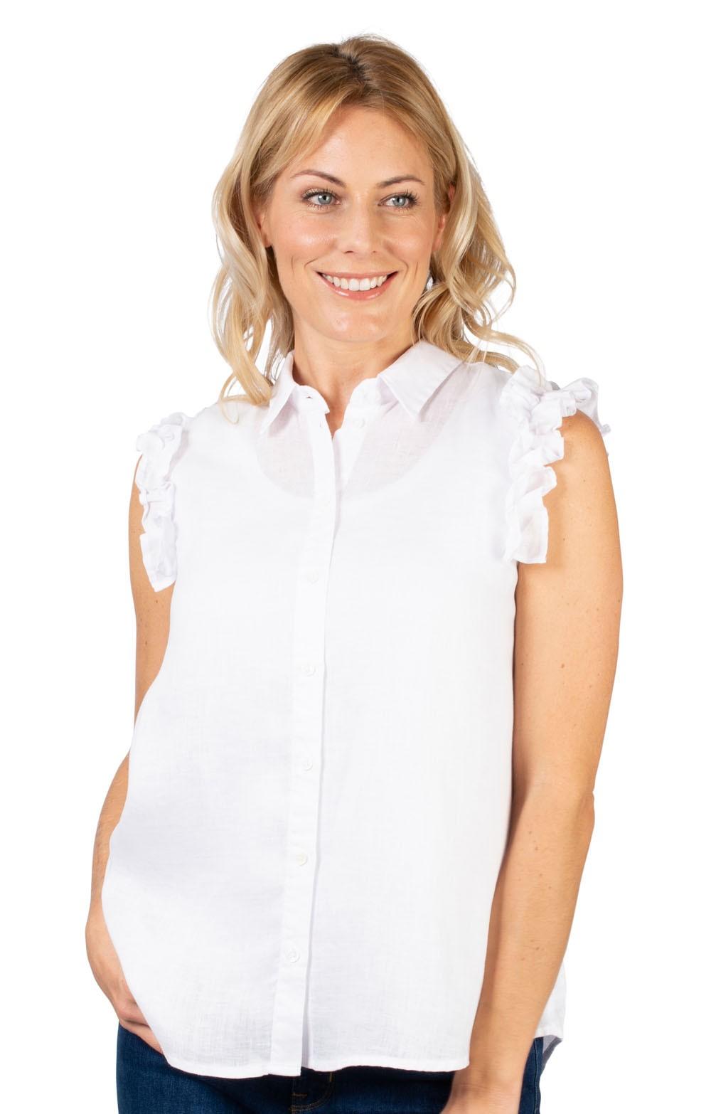 c8dcc2170f6819 Ladies Seidensticker Sleeveless Ruffle Shirt - House of Bruar