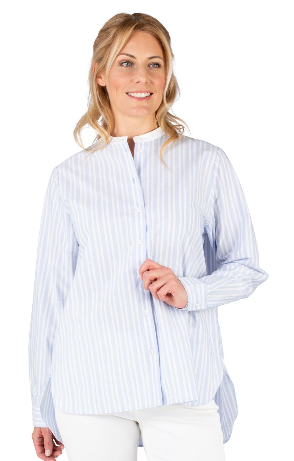 eb64c57dd74d13 Ladies Seidensticker Grandad Stripe Shirt - House of Bruar