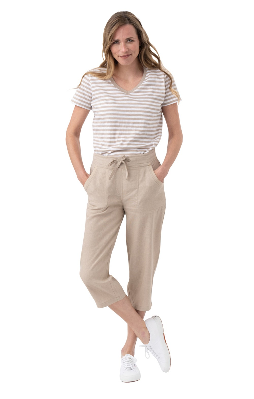 best supplier footwear good Ladies Linen Cropped Trousers