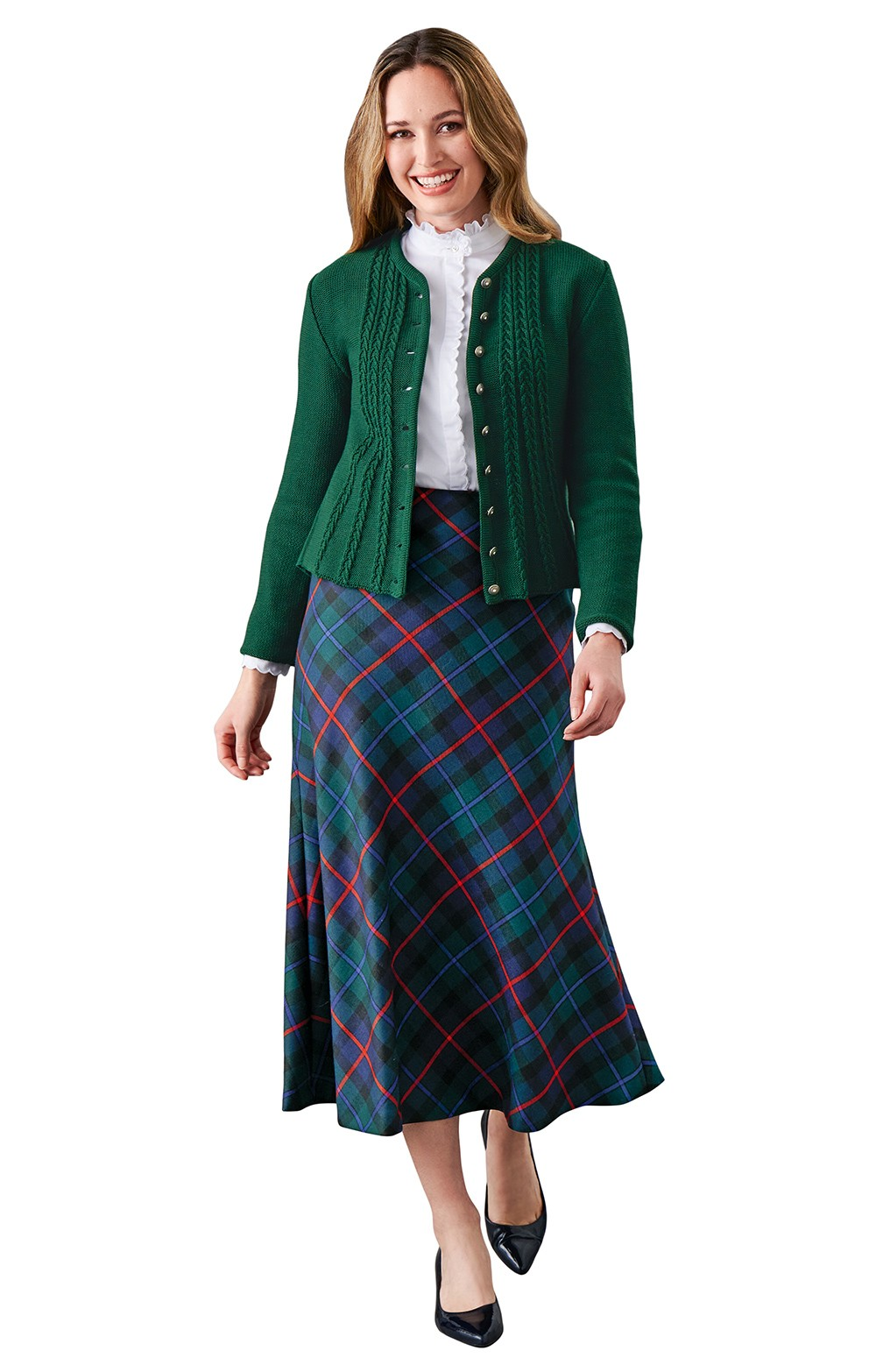 bf9ee90d37 Ladies Plaid Bias Skirt - House of Bruar