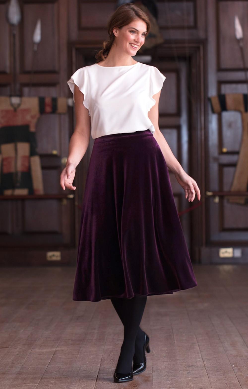 d0da5b1d79f1 Box Pleat Velvet Skirt - House of Bruar