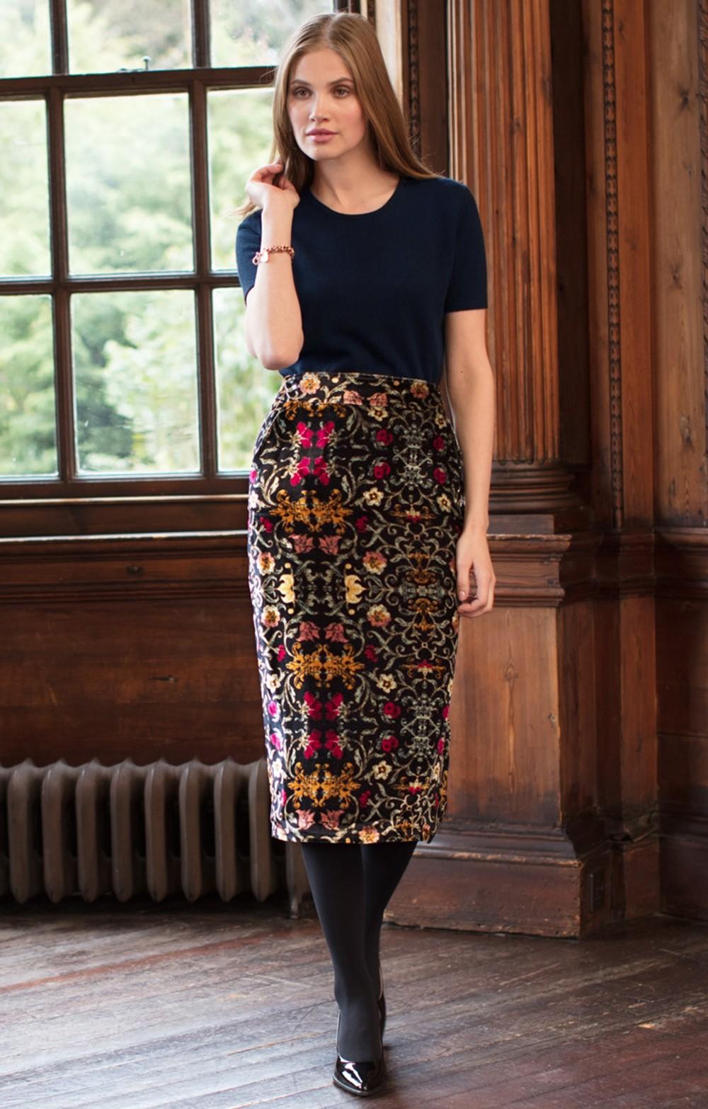 357401143a2a Printed Velvet Pencil Skirt - House of Bruar