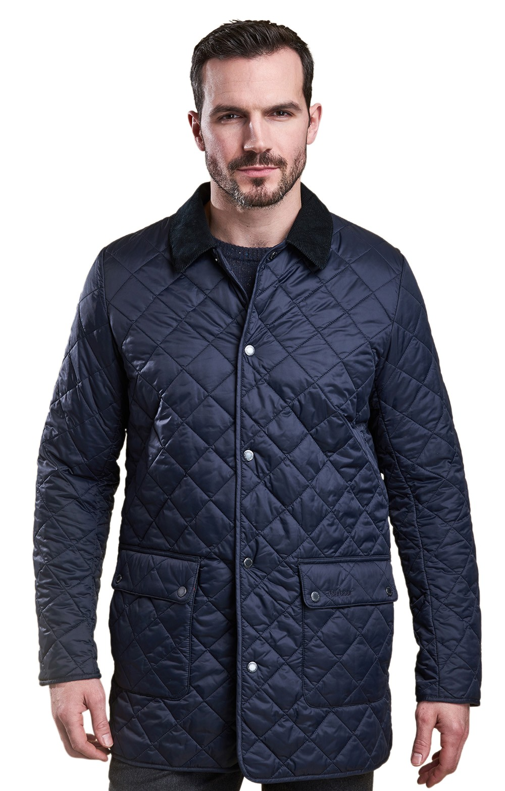 mens barbour drill jacket coat image quilted navy heritage quilt blue