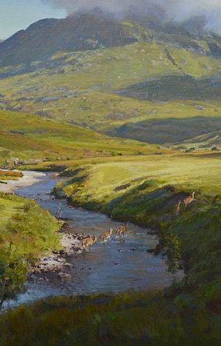 Deer Crossing the River by Ian MacGillivray