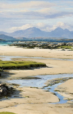 The Isles of Muck, Eigg and Rum from Portuairk, Ardnamurchan by Peter Symonds