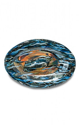 Two Fish, Oval Platter by Sophie MacCarthy