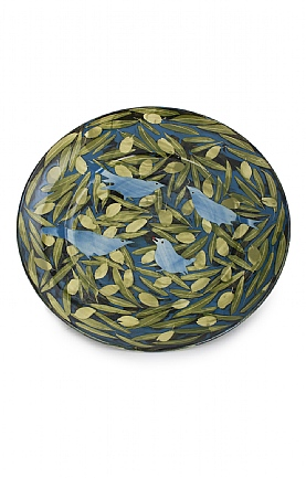 Blue Birds and Green Olives Plate by Sophie MacCarthy