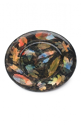 Coloured Leaves and Black Plate by Sophie MacCarthy