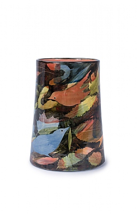 Birds and Leaves Tall Oval Vase by Sophie MacCarthy